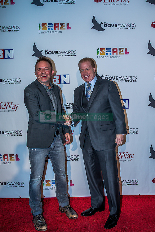 October 11, 2016 - Nashville, Tennessee, USA - Chris Tomlin and Michael Huppe at the 47th Annual GMA Dove Awards  in Nashville, TN at Allen Arena on the campus of Lipscomb University.  The GMA Dove Awards is an awards show produced by the Gospel Music Association. (Credit Image: © Jason Walle via ZUMA Wire)
