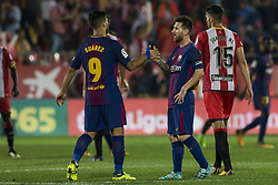 September 23, 2017 - Girona, Spain - Luis Suarez from Uruguay of FC Barcelona celebrating his goal with Leo Messi from Argentina of FC Barcelona during the La Liga match between Girona FC v FC Barcelona  at Montilivi Stadium on September 23, 2017 in Girona, Spain. (Credit Image: © Xavier Bonilla/NurPhoto via ZUMA Press)