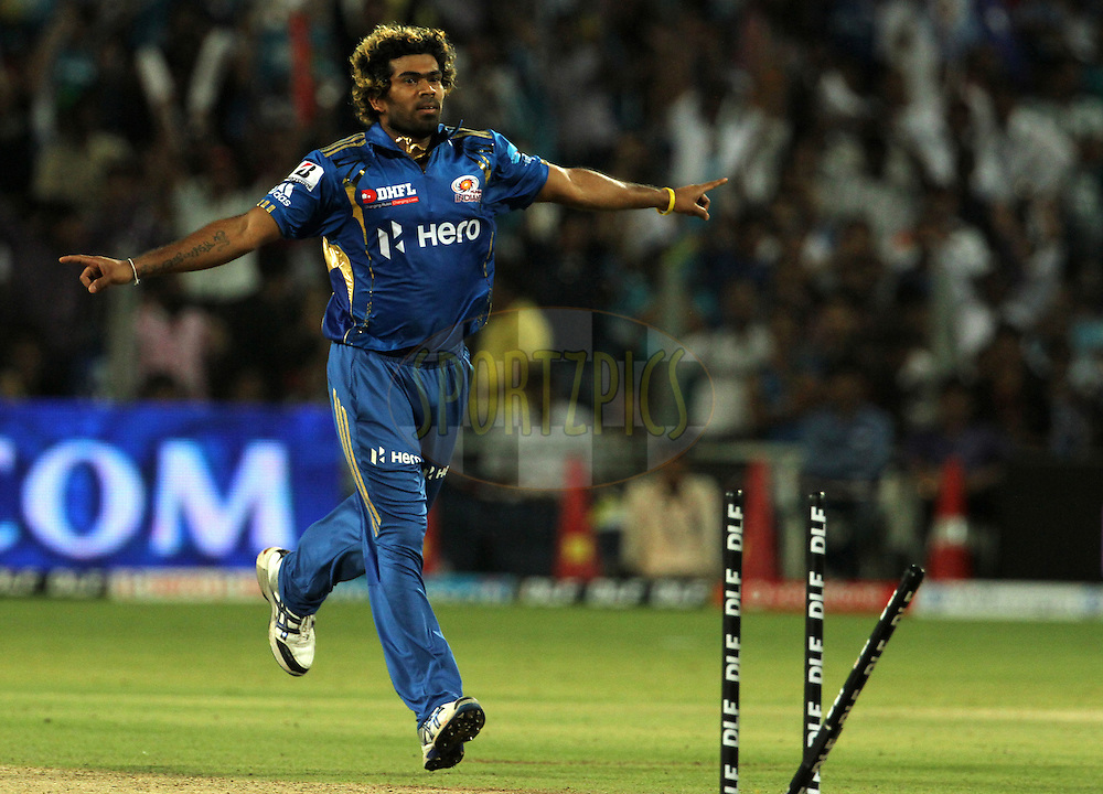 Mumbai Indian player Lasith Malinga celebrates after taking the wicket of Pune Warriors captain Saurav Ganguly during match 45 of the Indian Premier League ( IPL) 2012  between The Pune Warriors India and the Mumbai Indians held at the Subrata Roy Sahara Stadium, Pune on the 3rd May 2012..Photo by Vipin Pawar/IPL/SPORTZPICS