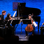 """February 9, 2015 - New York, NY : From left, flutist Yoobin Sonm, pianist Eric Huebner, violinist Quan Ge, cellist Sumire Kudo, and clarinetist Alcides Rodriguez perform Shulamit Ran's 'Mirage for five players' as part of The New York Philharmonic and the 92nd Street Y's presentation of """"Contact! New Music from Israel"""" at SubCulture in Manhattan on Monday night.  CREDIT: Karsten Moran for The New York Times"""