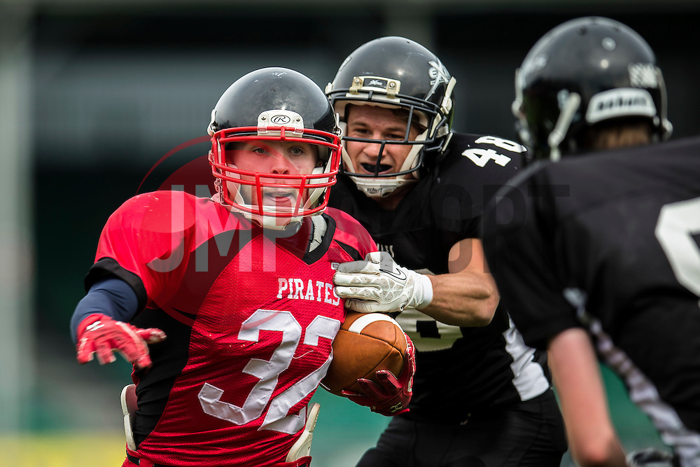 East Kilbride Pirates running back gets tackled - Mandatory by-line: Jason Brown/JMP - 27/08/2016 - AMERICAN FOOTBALL - Sixways Stadium - Worcester, England - Kent Exiles v East Kilbride Pirates - BAFA Britbowl Finals Day