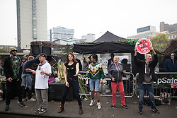 © Licensed to London News Pictures . 03/10/2015 . Manchester , UK . Protesters against the Conservative government's policies hold a non-stop rave in Piccadilly Gardens in Manchester City Centre ahead of the Conservative Party's annual conference . Photo credit: Joel Goodman/LNP