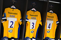 The matchday jerseys of Tom Dunn, Chris Judge and Josh McNally of Bath Rugby - Mandatory byline: Patrick Khachfe/JMP - 07966 386802 - 18/10/2019 - RUGBY UNION - Ashton Gate Stadium - Bristol, England - Bristol Bears v Bath Rugby - Gallagher Premiership