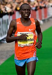 Third placed William Kwambai Kipchumba of Kenya at the finish line of the 14th Marathon of Ljubljana, on October 25, 2009, in Ljubljana, Slovenia.  (Photo by Vid Ponikvar / Sportida)