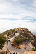 Hikers on Mt Rubidoux Trail to the Summit Cross