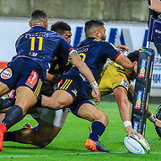 Ben Lam scores during the super rugby union  game between Hurricanes  and Highlanders, played at Westpac Stadium, Wellington, New Zealand on 24 March 2018.  Hurricanes won 29-12.
