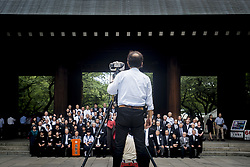 August 15, 2017 - Tokyo, Tokyo, Japan - Relatives of civilian and military victims of World War II pose for a portrait as they visit Yasukini Shrine pay homage to the soldiers and civiliams who died during World War II in Tokyo, Japan, 15 August 2017. Japan marks the 72nd anniversary of the end of World War II on 15 August. Approximately 3.1 million Japanese soldiers and civilians were killed during the war. (Credit Image: © Alessandro Di Ciommo/NurPhoto via ZUMA Press)