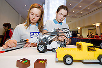 Eleven year olds Donna Looby and Lauren Fahyl from St Gerards' Junior School in Bray getting the teams robot ready for the  FIRST LEGO League 2012 competition sponsored by SAP in the Radisson blu hotel in Galway. Photo:Andrew Downes.