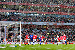LONDON, ENGLAND - Saturday, January 9, 2010: Arsenal take on Everton during the Premiership match at the Emirates Stadium as the snow begins to fall. (Photo by David Rawcliffe/Propaganda)