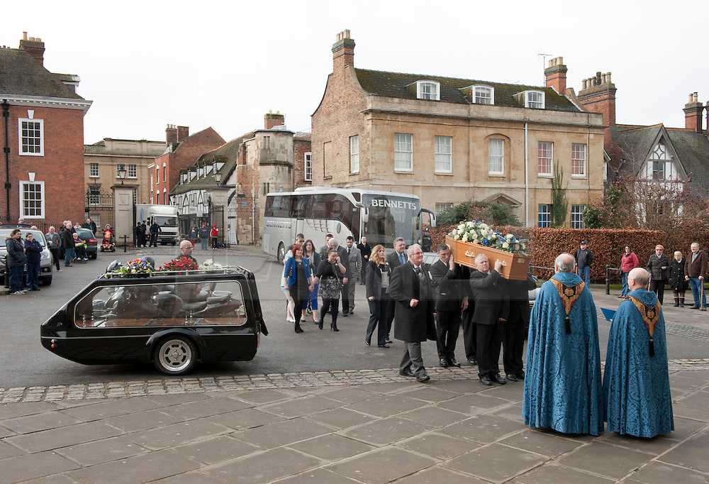 © Licensed to London News Pictures.  20/02/2015. Gloucester, UK.  The funeral of 19-year-old Zac Evans, killed in a machete-style attack last month.  Zac Evans died and two other men were injured on 24 January outside The Pike and Musket pub in Tuffley, Gloucester.  A motorcycle hearse carried Mr Evans' coffin to Gloucester cathedral, where hundreds of mourners, including friends and family, wore items of blue clothing in his memory.  A 44-year-old man has been charged with murder and attempted murder. Photo credit : Simon Chapman/LNP