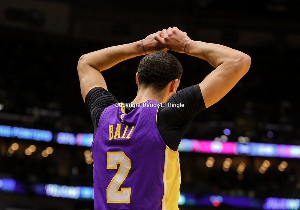 Mar 22, 2018; New Orleans, LA, USA; Los Angeles Lakers guard Lonzo Ball (2) reacts after a technical foul is called against guard Isaiah Thomas (not pictured) during the second quarter against the New Orleans Pelicans at the Smoothie King Center. Mandatory Credit: Derick E. Hingle-USA TODAY Sports