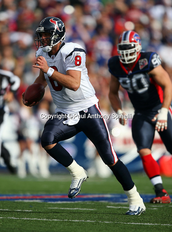 Houston Texans quarterback Matt Schaub (8) runs for a first quarter first down during the NFL football game against the Buffalo Bills, November 1, 2009 in Orchard Park, New York. The Texans won the game 31-10. (©Paul Anthony Spinelli)