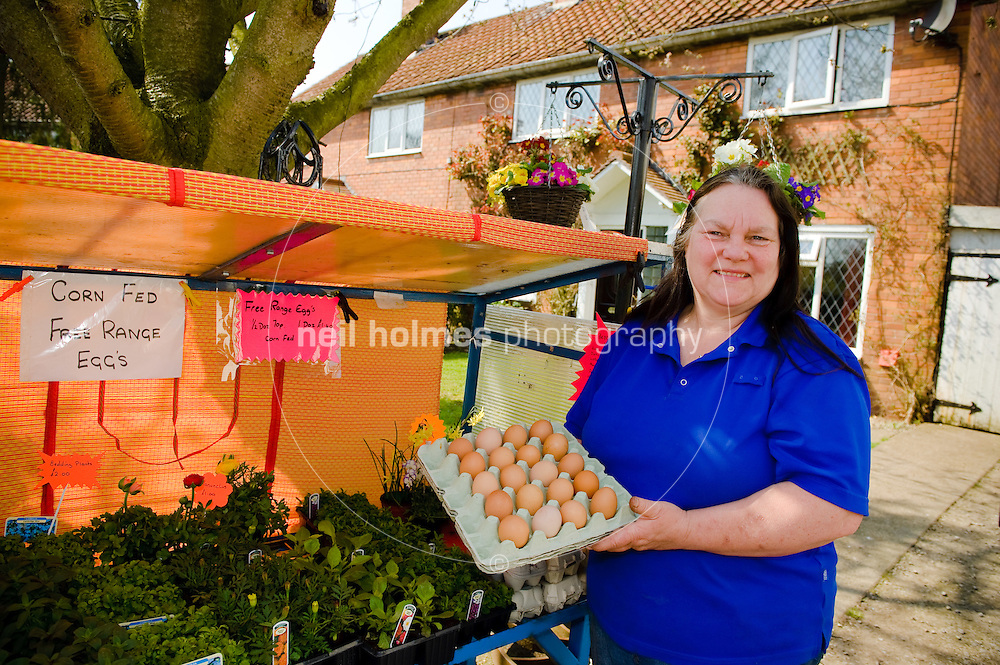 Carol Coe who has a Honesty stall outside her house on Church Street, selling plants, flowers and fresh eggs Bubwith village, East Yorkshire.