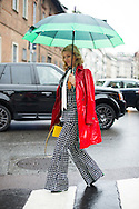 Red Raincoat and Starry Print, Outside Blumarine FW2016