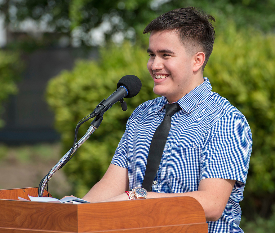 Valedictorian Uriel Iglesias comments during a groundbreaking ceremony for new Sam Houston Math, Science and Technology Center School, March 24, 2017.