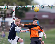 Dundee Social (dark blue) v Osnaburg (tangerine) in the Dundee Sunday FA at Fairmuir, Dundee, Photo: David Young<br /> <br />  - &copy; David Young - www.davidyoungphoto.co.uk - email: davidyoungphoto@gmail.com