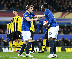 Everton's Seamus Coleman encourages Romelu Lukaku before his penalty - Photo mandatory by-line: Matt McNulty/JMP - Mobile: 07966 386802 - 26/02/2015 - SPORT - Football - Liverpool - Goodison Park - Everton v Young Boys - UEFA EUROPA LEAGUE ROUND OF 32 SECOND LEG