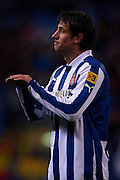 MADRID, SPAIN- FEBRUARY 24: Joan Capdevila of RCD Espanyol reacts during the Liga BBVA between Atletico de Madrid and RCD Espanyol at the Vicente Calderon stadium on February 24, 2013 in Madrid, Spain. (Photo by Aitor Alcalde Colomer).