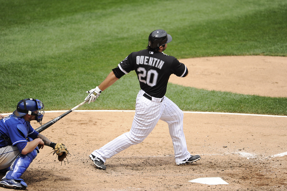 CHICAGO - JULY 11:  Carlos Quentin #20 of the Chicago White Sox hits a grand slam home run in the sixth inning against the Kansas City Royals on July 11, 2010 at U.S. Cellular Field in Chicago, Illinois.  The White Sox defeated the Royals 15-5.  (Photo by Ron Vesely)
