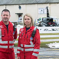 Helicopter Crash at Perth Airport, Scone….13.03.18<br />Craig McDonald and Wendy Jubb, Paramedics with Scotland's Charity Air Ambulance who treated the casualty at the wreckage of the Robinson helicopter which crashed shortly after 10.30am this morning at Perth Airport in Scone. The pilot was the only occupant and suffered non-life threatening injuries<br />Picture by Graeme Hart. <br />Copyright Perthshire Picture Agency<br />Tel: 01738 623350  Mobile: 07990 594431