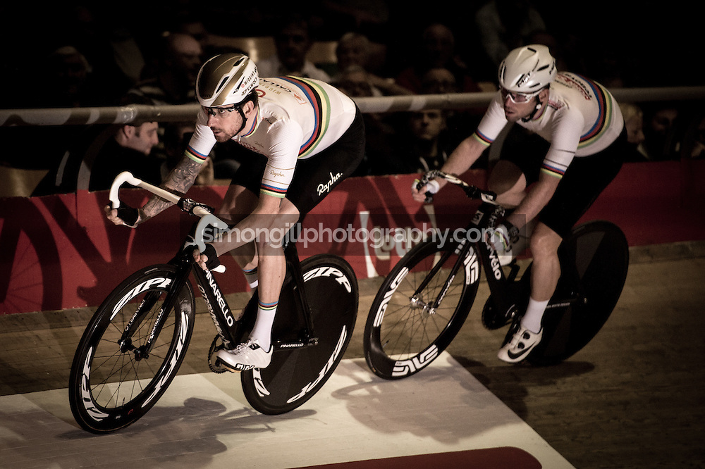 Ghent, Belgium - November, 2016: The 76th 6 Days of Ghent race at t'Kuipke Track Velodrome.