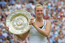LONDON, ENGLAND - Saturday, July 2, 2011: Petra Kvitova (CZE) celebrates with the trophy after winning the Ladies' Singles Final on day twelve of the Wimbledon Lawn Tennis Championships at the All England Lawn Tennis and Croquet Club. (Pic by David Rawcliffe/Propaganda)