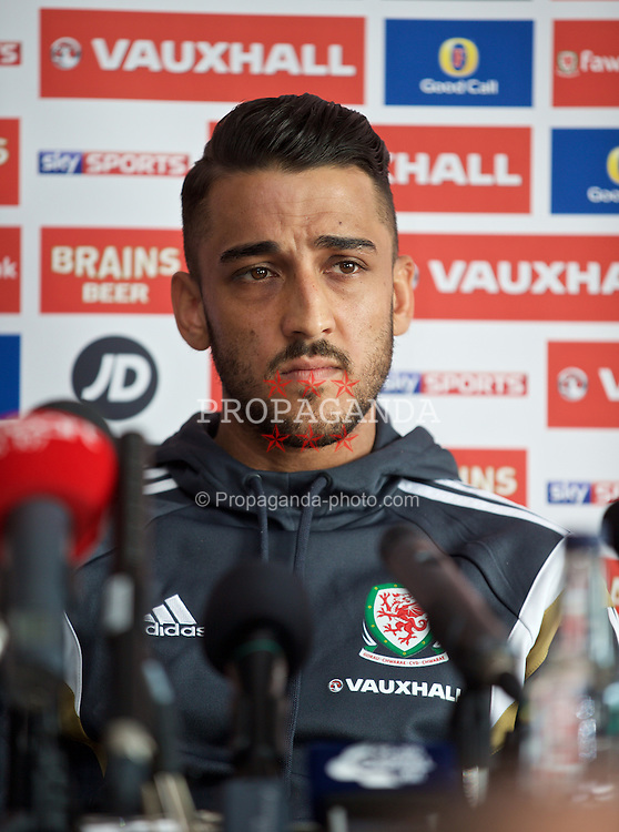 CARDIFF, WALES - Wednesday, March 25, 2015: Wales' Neil Taylor during a press conference at the Vale of Glamorgan ahead of the UEFA Euro 2016 qualifying Group B match against Israel. (Pic by David Rawcliffe/Propaganda)
