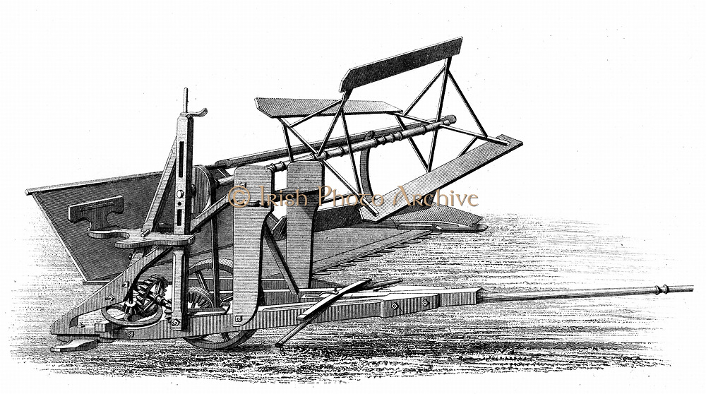 Cyrus McCormick's reaping machine (America, 1831), the first mechanical reaper to be generally adopted. Engraving 1862