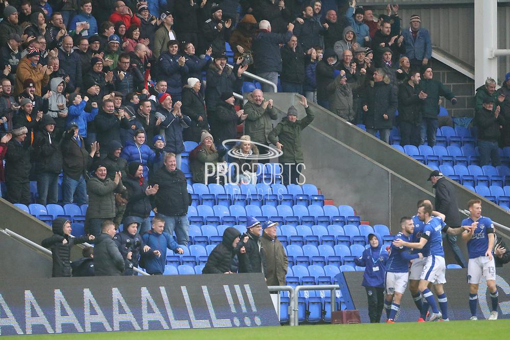 Oldham fans cheer after Craig Davies Oldham Forward scores during the EFL Sky Bet League 1 match between Oldham Athletic and Scunthorpe United at Boundary Park, Oldham, England on 28 October 2017. Photo by George Franks.