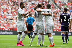 04.08.2015, Allianz Arena, Muenchen, GER, AUDI CUP, Real Madrid vs Tottenham Hotspur, im Bild l-r: Torjubel von Jese #20 (Real Madrid), James #10 (Real Madrid), Marcelo #12 (Real Madrid) und Isco #22 (Real Madrid) // during the 2015 Audi Cup Match between Real Madrid and Tottenham Hotspur at the Allianz Arena in Muenchen, Germany on 2015/08/04. EXPA Pictures &copy; 2015, PhotoCredit: EXPA/ Eibner-Pressefoto/ Kolbert<br /> <br /> *****ATTENTION - OUT of GER*****