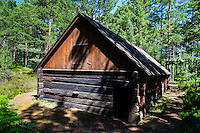 Sweden, Gotska Sandön national park. Old wooden building.