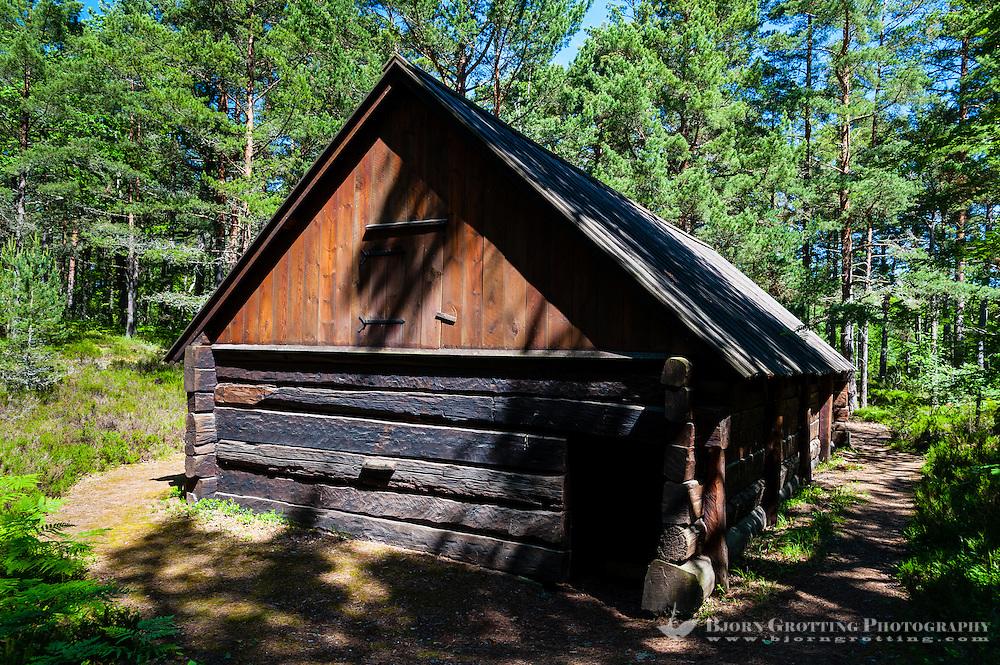 Sweden, Gotska Sandön national park. Old wooden building.