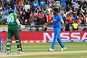 India win - Wicket - Jasprit Bumrah of India celebrates taking the final wicket of Mustafizur Rahman of Bangladesh during the ICC Cricket World Cup 2019 match between Bangladesh and India at Edgbaston, Birmingham, United Kingdom on 2 July 2019.