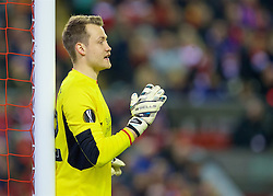 LIVERPOOL, ENGLAND - Thursday, March 10, 2016: Liverpool's goalkeeper Simon Mignolet in action against Manchester United during the UEFA Europa League Round of 16 1st Leg match at Anfield. (Pic by David Rawcliffe/Propaganda)