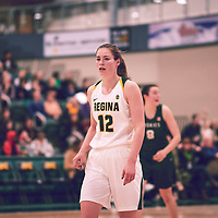5th year forward, Christina McCusker (12) of the Regina Cougars during the Women's Basketball Home Game on Fri Feb 01 at Centre for Kinesiology,Health and Sport. Credit: Arthur Ward/Arthur Images