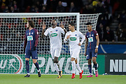 Marcus THURAM (En Avant De Guingamp) scored a penalty and celebrated it, Ludovic BLAS (En Avant De Guingamp), Presnel Kimpembe (PSG), Adrien Rabiot (psg) during the French Cup, round of 32, football match between Paris Saint-Germain and EA Guingamp on January 24, 2018 at Parc des Princes stadium in Paris, France - Photo Stephane Allaman / ProSportsImages / DPPI