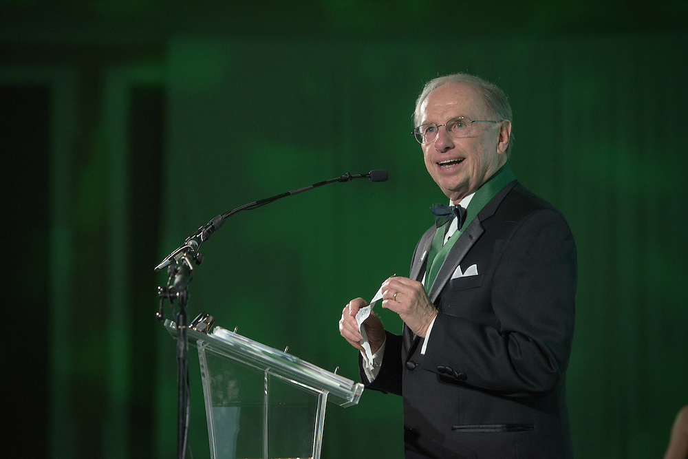 Charles W. Beck Jr. receives the Distinguished Service Award during the 2016 Alumni Awards Gala at Ohio University's Baker Center Ballroom on Friday, October 07, 2016.