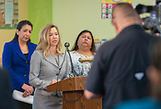 Julie Baker Finck of the Barbara Bush Houston Literacy Foundation comments during a news conference discussing back to school parenting at Cunningham Elementary School, September 3, 2015.