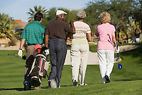 Group of senior golfers walking on golf course back view