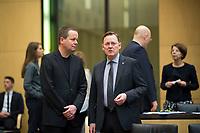 DEU, Deutschland, Germany, Berlin, 02.03.2018: Thüringens Ministerpräsident Bodo Ramelow (Die Linke) und Berlins Kultursenator Klaus Lederer (Die Linke) vor einer Sitzung im Bundesrat.
