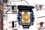 Sign for Goldener Adler hotel n Herzog Friedrich Strasse in Innsbruck in the Tyrol, Austria