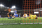 Hull City striker Chuba Akpom scores the second goal for Hull City during the Sky Bet Championship match between Hull City and Ipswich Town at the KC Stadium, Kingston upon Hull, England on 20 October 2015. Photo by Ian Lyall.