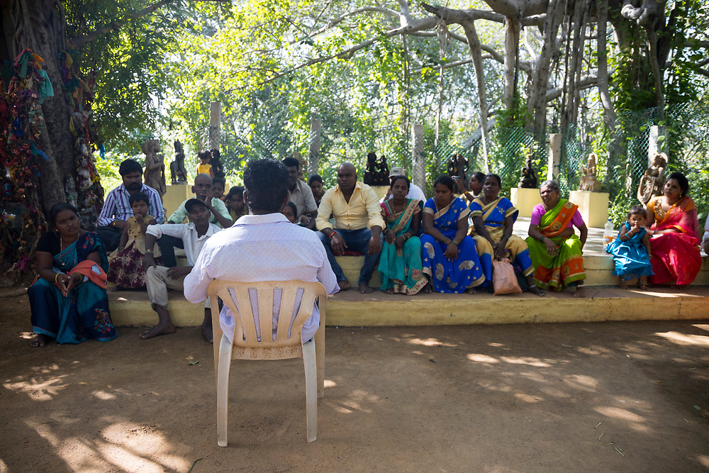 THIMMAMMA MARRIMANU, INDIA - 28th October 2019 - Pilgrims visit the temple and listen to the story of the goddess Thimmamma at the centre of the Thimmamma Marrimanu banyan tree - the world's largest single tree canopy.