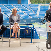 June 9, 2015, New Haven, CT:<br /> Former ATP World Tour star and Connecticut Open Legends Event Participant James Blake speaks alongside Connecticut Governor Dannel P. Malloy and Tournament Director Anne Worcester during a press conference at the Connecticut Tennis Center to announce the new Connecticut Open 50/50 Project and the renewal of United Technologies sponsorship of the tournament through the 2017 in New Haven, Connecticut Tuesday, June 9, 2015.<br /> (Photo by Billie Weiss/Connecticut Open)