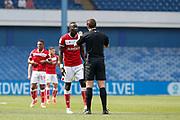 Referee Robert Jones gives Famara Diédhiou of Bristol City a warning during the EFL Sky Bet Championship match between Sheffield Wednesday and Bristol City at Hillsborough, Sheffield, England on 22 April 2019.