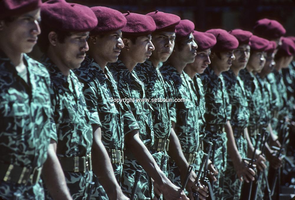 El Salvador. the first anniversary cemonies of the Atlacatl Bataillon, trained by the red berets      / premier anniverssaire du bataillon d elite Atlacatl, entraine par les berets verts    Salvador  / SALV34194 5