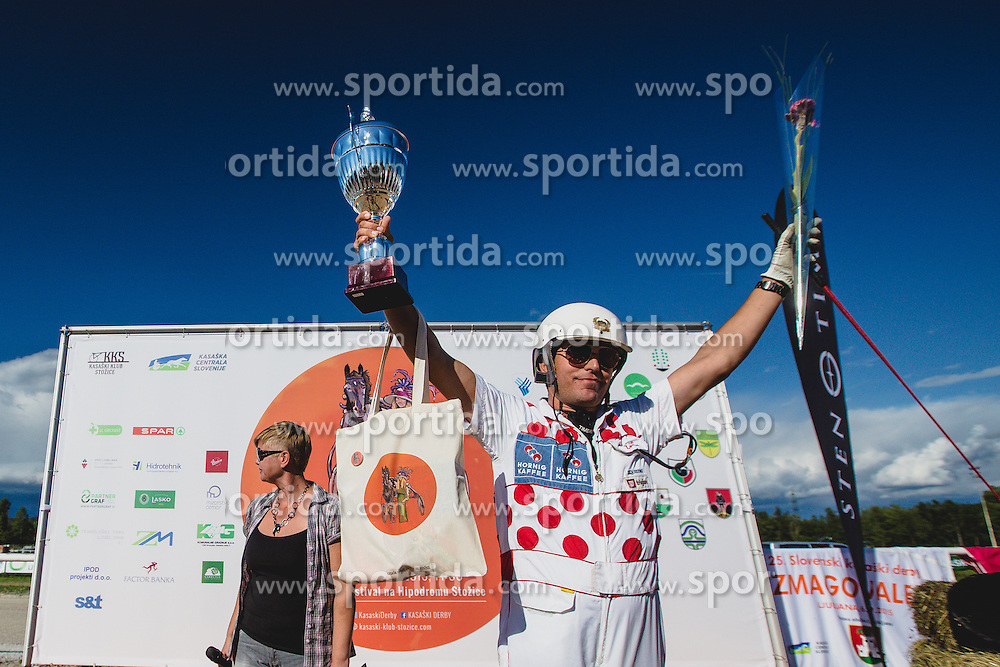 Zorko Dusan winner of legendary race ''Ljubljanska milja'' during Harness racing competition Kasaski derby 2015 at hippodrome Stozice on 8. September 2015 in , Ljubljana, Slovenia. Photo by Grega Valancic / Sportida