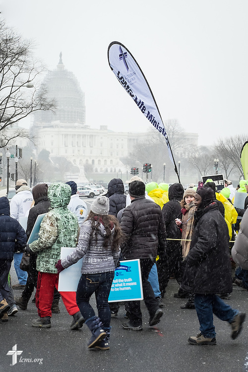 Lutherans lead the 2016 March for Life on Friday, Jan. 22, 2016, in Washington, D.C. In the foreground is the United States Capitol. Michael Schuermann for LCMS Communications
