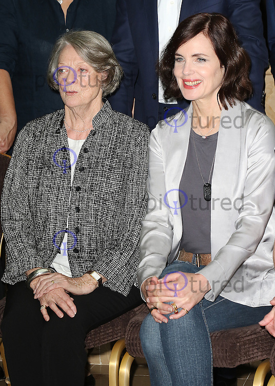 Dame Maggie Smith, Elizabeth McGovern, Downton Abbey - Final Season press launch photocall, The May Fair Hotel, London UK, 13 August 2015, Photo by Richard Goldschmidt