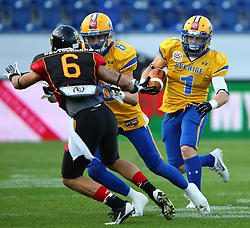 03.06.2014, NV Arena, St. Poelten, AUT, American Football Europameisterschaft 2014, Gruppe A, Schweden (SWE) vs Deutschland (GER), im Bild Leonard Green, (Team Germany, DB, #6), Fredrik lsaksson, (Team Sweden, WR, #6) und  Sebastian Gauthier, (Team Sweden, RB, #1) // during the American Football European Championship 2014 group A game between Sweden vs Germany at the NV Arena, St. Poelten, Austria on 2014/06/03. EXPA Pictures © 2014, PhotoCredit: EXPA/ Thomas Haumer